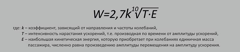 Формула плавности хода W (по методу Э. Шперлинга)